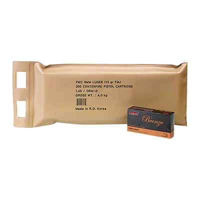Bronze Ammo 9mm Luger 115gr FMJ Battle Pack by Pmc Ammunition, Inc.