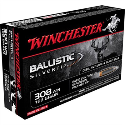 Click here to buy Supreme Ballistic Silvertip Ammo 308 Winchester 168gr Bst by Winchester.