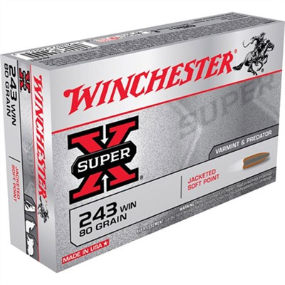 Super-X Ammo 243 Winchester 80gr Pointed Sp by Winchester