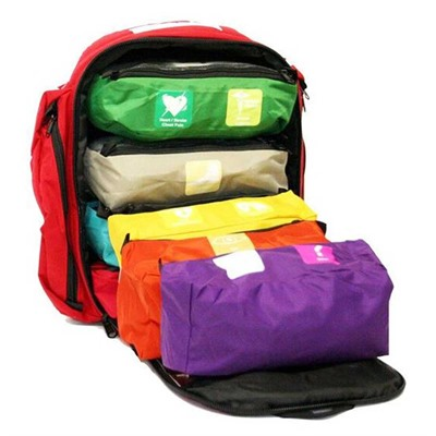 Click here to buy First Voice Color Coded First Aid Responder Kit Backpack by Think Safe Inc.