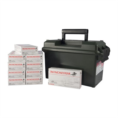Click here to buy Usa White Box Ammo 45 Acp 230gr FMJ Ammo Can by Winchester.