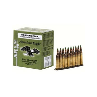 American Eagle Ammo 5.56x45mm Nato 62gr Xm855 Clips by Federal