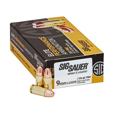 Elite Ball Ammo 9mm Luger 124gr Full Metal Jacket by Sig Sauer
