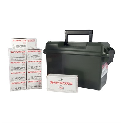 Click here to buy Usa White Box Ammo 38 Special 130gr FMJ Ammo Can by Winchester.