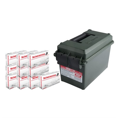 Click here to buy Usa White Box Ammo 45 Acp 185gr FMJ Ammo Can by Winchester.