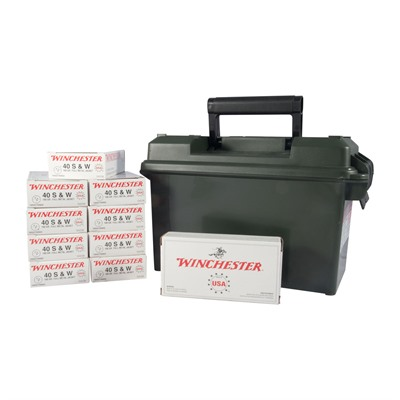 Click here to buy Usa White Box Ammo 40 S & w/ 180gr FMJ Ammo Can by Winchester.