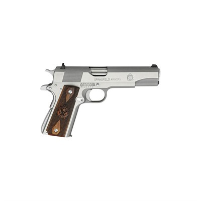 Click here to buy Mil-Spec Stainless Steel 5in 45 Acp Stainless Wood Fixed 7+1rd by Springfield Armory.
