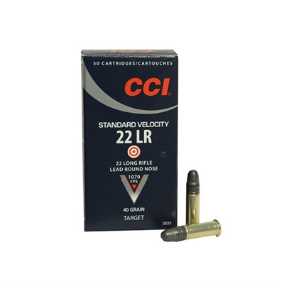 Click here to buy Standard Velocity Ammo 22 Long Rifle 40gr Lead Round Nose by Cci.