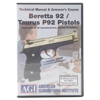 Beretta 92 & Taurus 92 Technical Manual & Armorer & 39;s Course Dvd by Agi