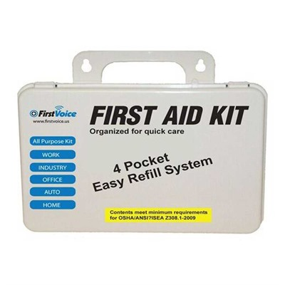 Click here to buy First Voice Basic First Aid Kit by Think Safe Inc.