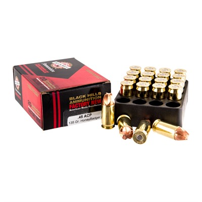 Click here to buy 45 Acp 135gr Honeybadger Ammo by Black Hills Ammunition.