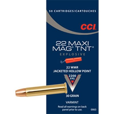 Maxi-Mag Tnt Ammo 22 Magnum (Wmr) 30gr Jacketed Hollow Point by Cci