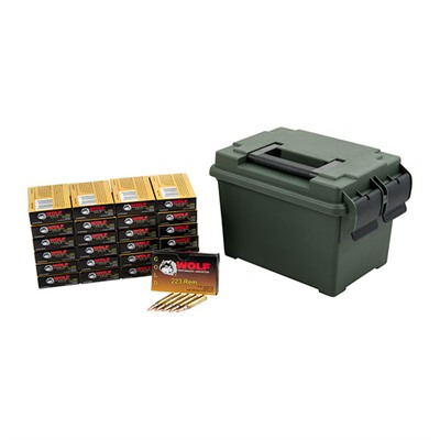 Click here to buy Gold Ammo 223 Remington 55gr FMJ Ammo Can by Wolf.