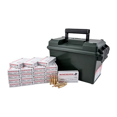 Click here to buy Usa White Box Ammo 223 Remington 55gr FMJ Ammo Can by Winchester.
