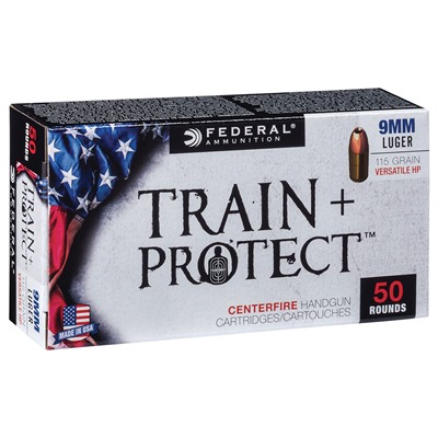 Train + Protect Ammo 9mm 115gr Versatile Hollow Point by Federal