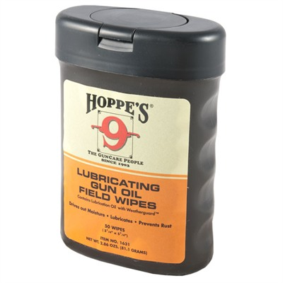 Click here to buy Lubricating Gun Oil Field Wipes by Hoppes.