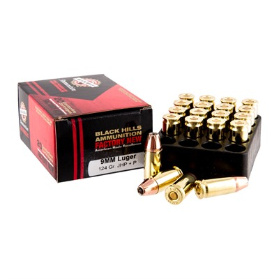 Click here to buy 9mm Luger +p 124gr Jacketed Hollow Point Ammo by Black Hills Ammunition.