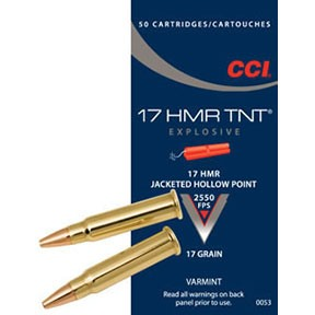 Click here to buy Tnt Explosive Ammo 17 Hmr 17gr Jacketed Hollow Point by Cci.