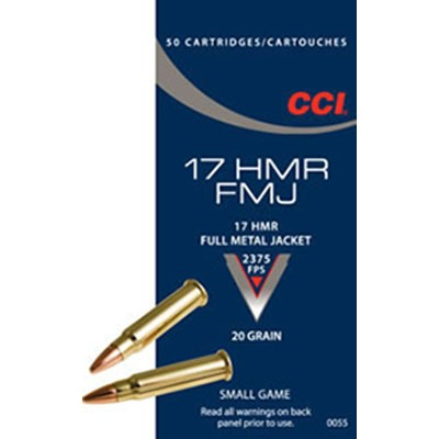 Click here to buy FMJ Ammo 17 Hmr 20gr Full Metal Jacket by Cci.