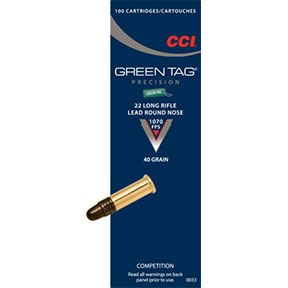 Click here to buy Green Tag Ammo 22 Long Rifle 40gr Lead Round Nose by Cci.