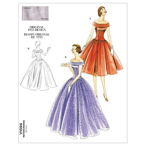 1950s Sewing Patterns | Swing and Wiggle Dresses, Skirts 1955 Vintage Vogue Party Dress Pattern $16.50 AT vintagedancer.com