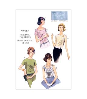 1960s – 70s Sewing Patterns- Dresses, Tops, Pants 1960 Vogue Patterns Misses Tops -V9187 $16.00 AT vintagedancer.com