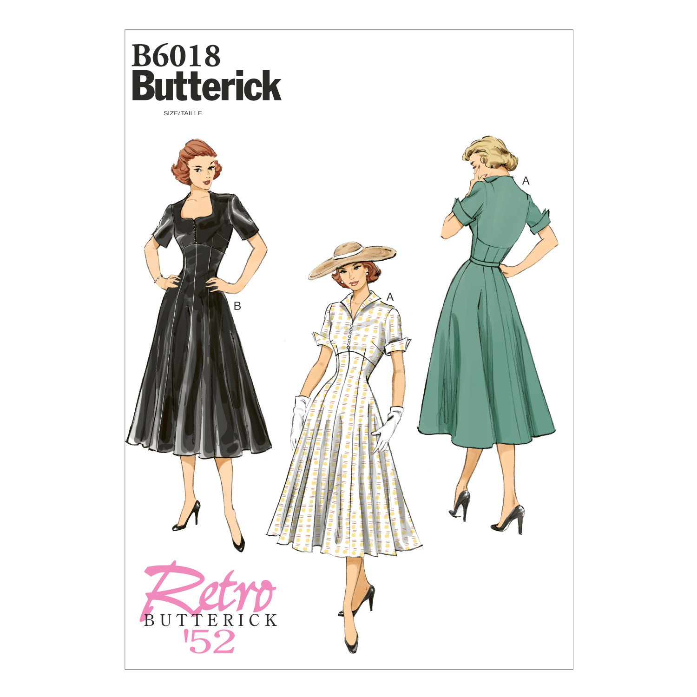 1950s Sewing Patterns   Swing and Wiggle Dresses, Skirts 1952 Dress Vintage Butterick Pattern $11.97 AT vintagedancer.com
