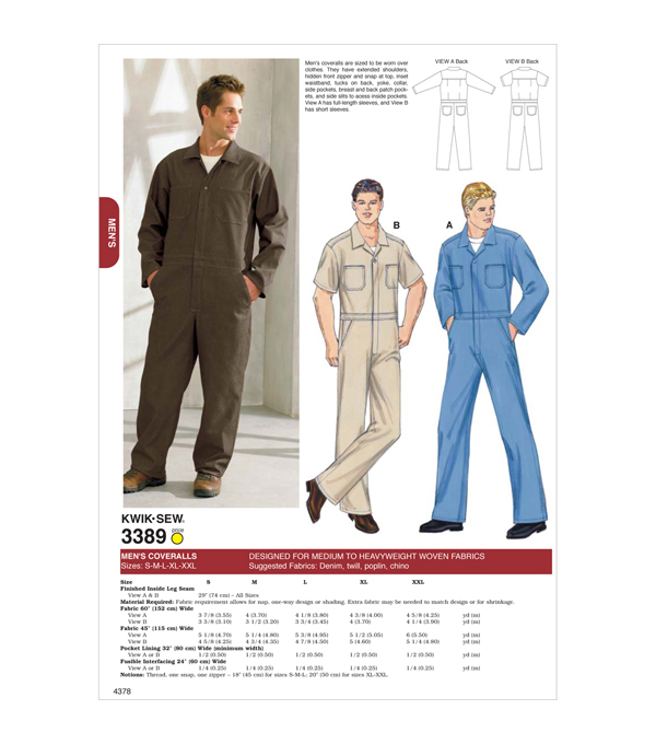 Men's Vintage Reproduction Sewing Patterns Coveralls $15.99 AT vintagedancer.com