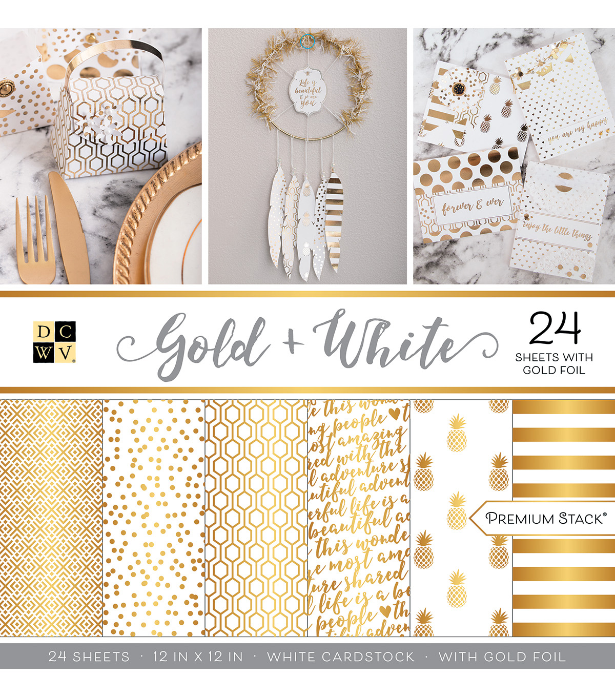 "Dcwv 24 Pack 12""X12"" Premium Printed Cardstock Stack Gold & White              Dcwv 24 Pack 12""X12"" Premium Printed Cardstock Stack Gold & White by Dcwv"