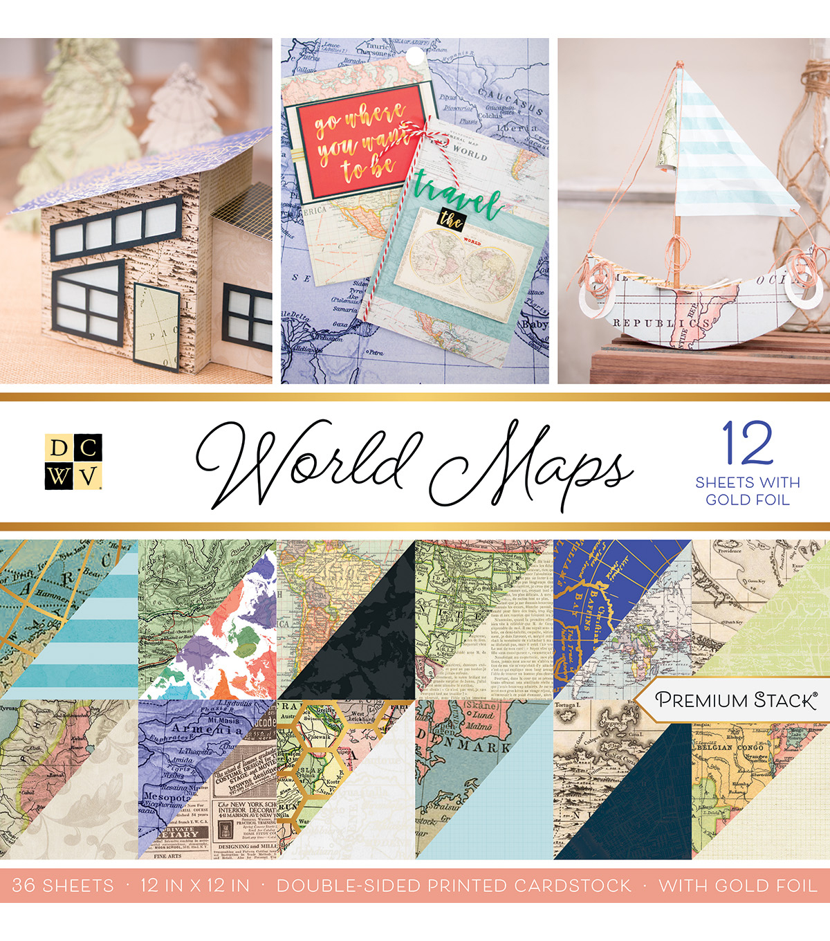 Dcwv 12''x12'' 36 Pack Premium Printed Cardstock Stack World Maps              Dcwv 12''x12'' 36 Pack Premium Printed Cardstock Stack World Maps by Dcwv