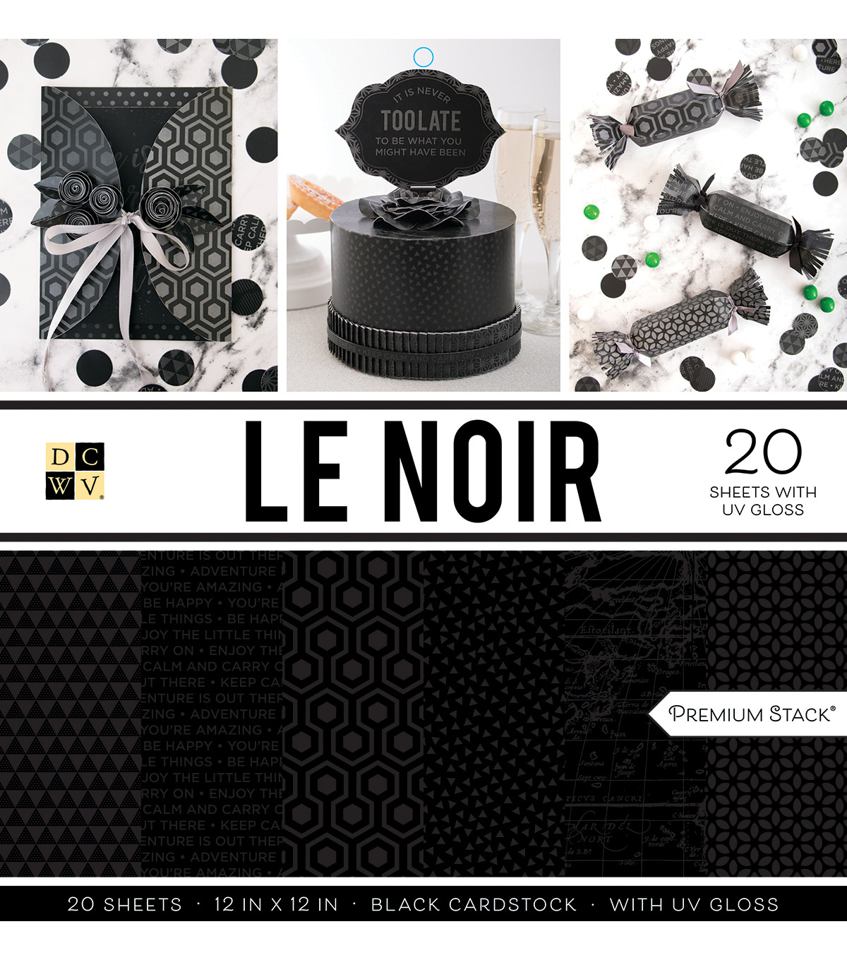 Dcwv 20 Pack 12''x12''  Premium Stack Printed Cardstock Le Noir              Dcwv 20 Pack 12''x12''  Premium Stack Printed Cardstock Le Noir by Dcwv