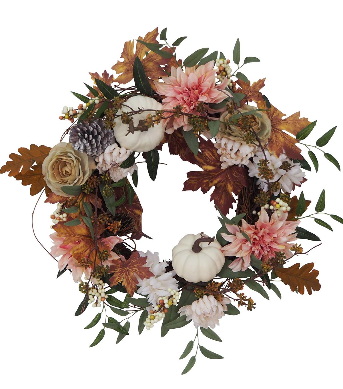 Blooming Autumn Pumpkin, Dahlia, Pinecone & Berry Wreath White              Blooming Autumn Pumpkin, Dahlia, Pinecone & Berry Wreath White by Blooming Autumn