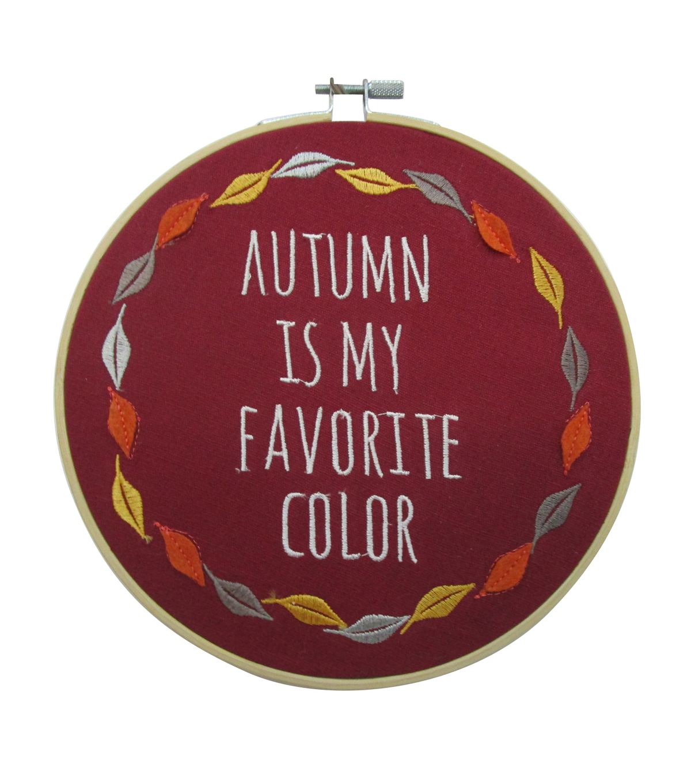 Simply Autumn Embroidery Hoop Autumn Is My Favorite Color On Burgundy              Simply Autumn Embroidery Hoop Autumn Is My Favorite Color On Burgundy by Simply Autumn