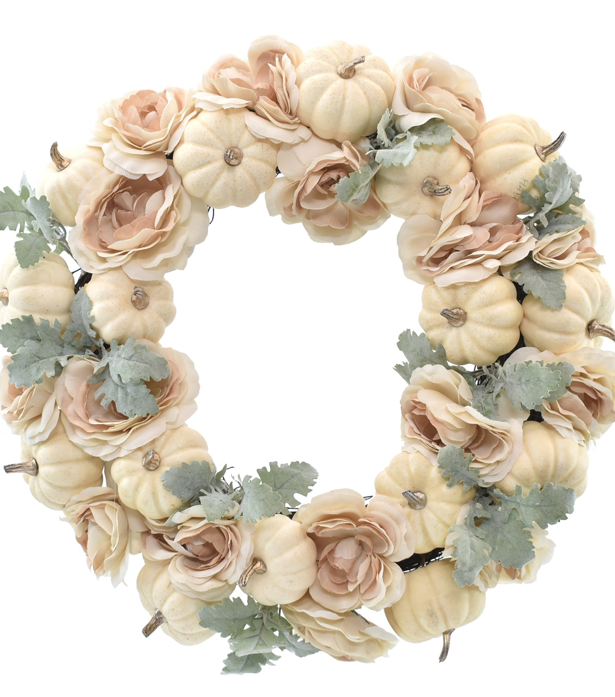 Blooming Autumn Pumpkin, Rose & Leaves Wreath Cream              Blooming Autumn Pumpkin, Rose & Leaves Wreath Cream by Blooming Autumn