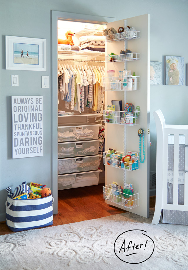 Back of the door storage idea for baby's closet from containerstore.com