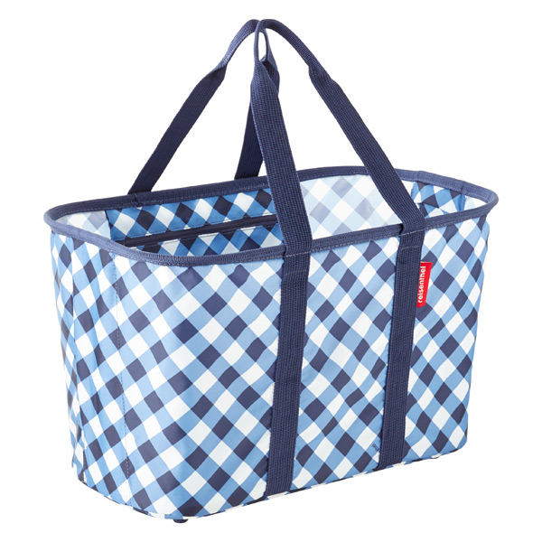 Reisenthel Blue Gingham Collapsible Snap Storage Basket by Container Store