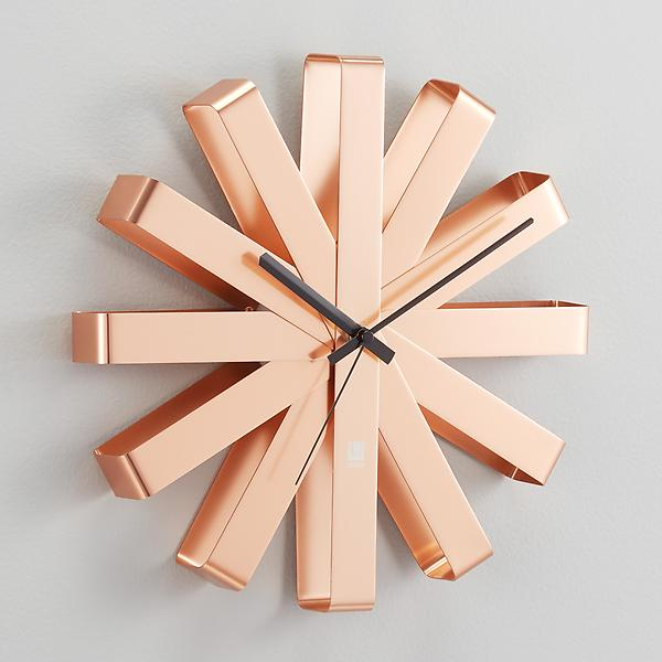Umbra Copper Ribbon Wall Clock by Container Store