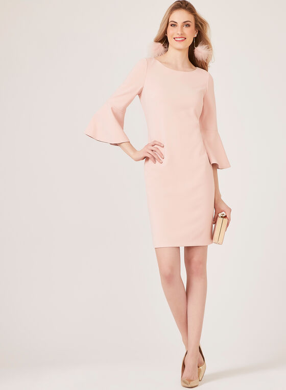 Jessica Howard - Crepe Pencil Dress - Blush, Pink, hi-res