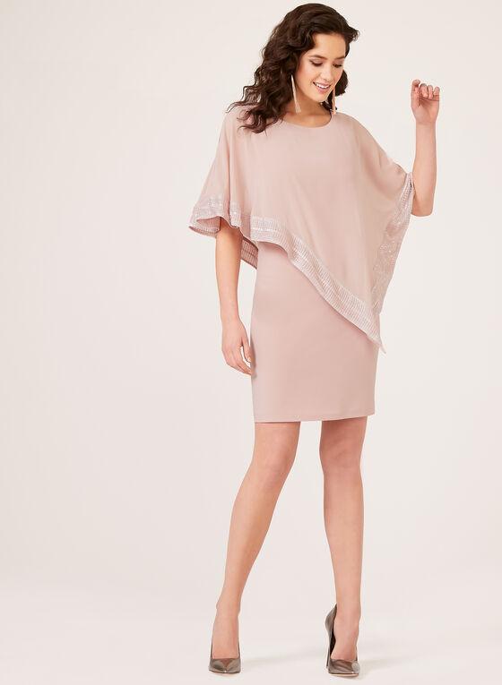 Foil Trim Poncho Dress, Pink, hi-res