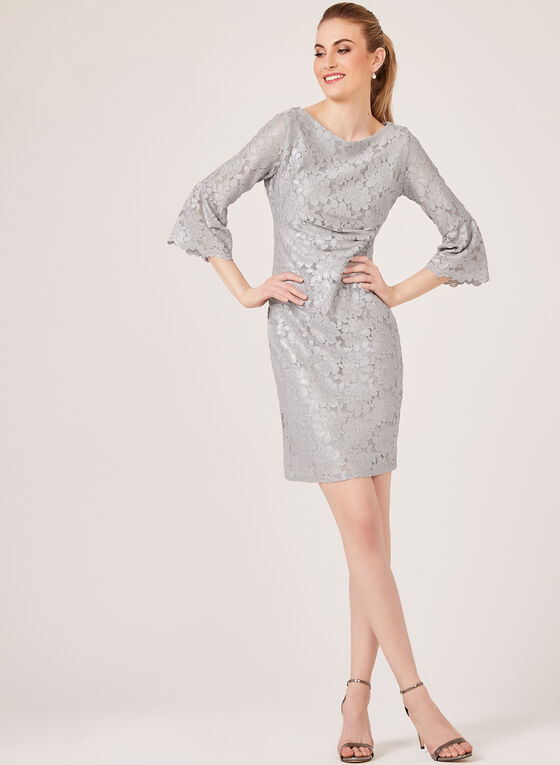 Jessica Howard - Bell Sleeve Lace Dress, Silver, hi-res
