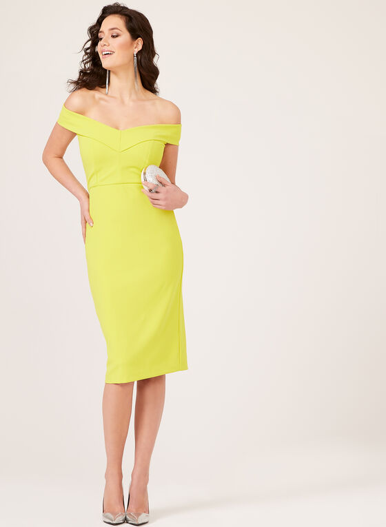 ECI New York - Portrait Collar Wide V-Neck Fitted Midi Dress, Yellow, hi-res