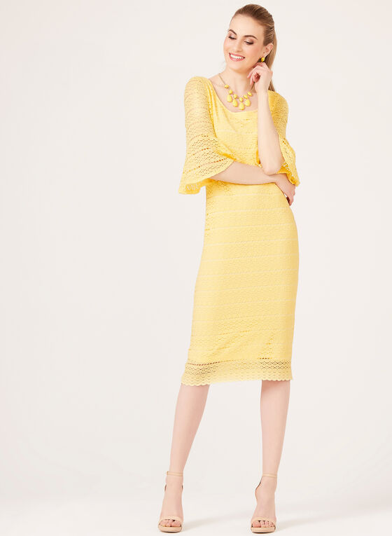 Soft Bell Sleeve Lace Dress, Yellow, hi-res